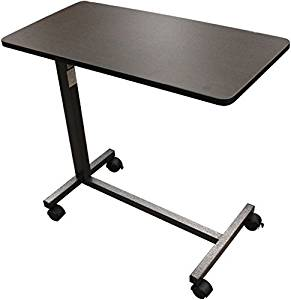 Overbed Table, Flat Rolling Overbed Table with Adjustable Height, for Eating, Working, Reading or Computing